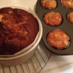 Apple Cake baked in a 6 x 3 inch tin and apple cupcakes