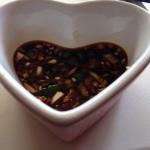 Soy sauce, vinegar, chili, garlic and onion