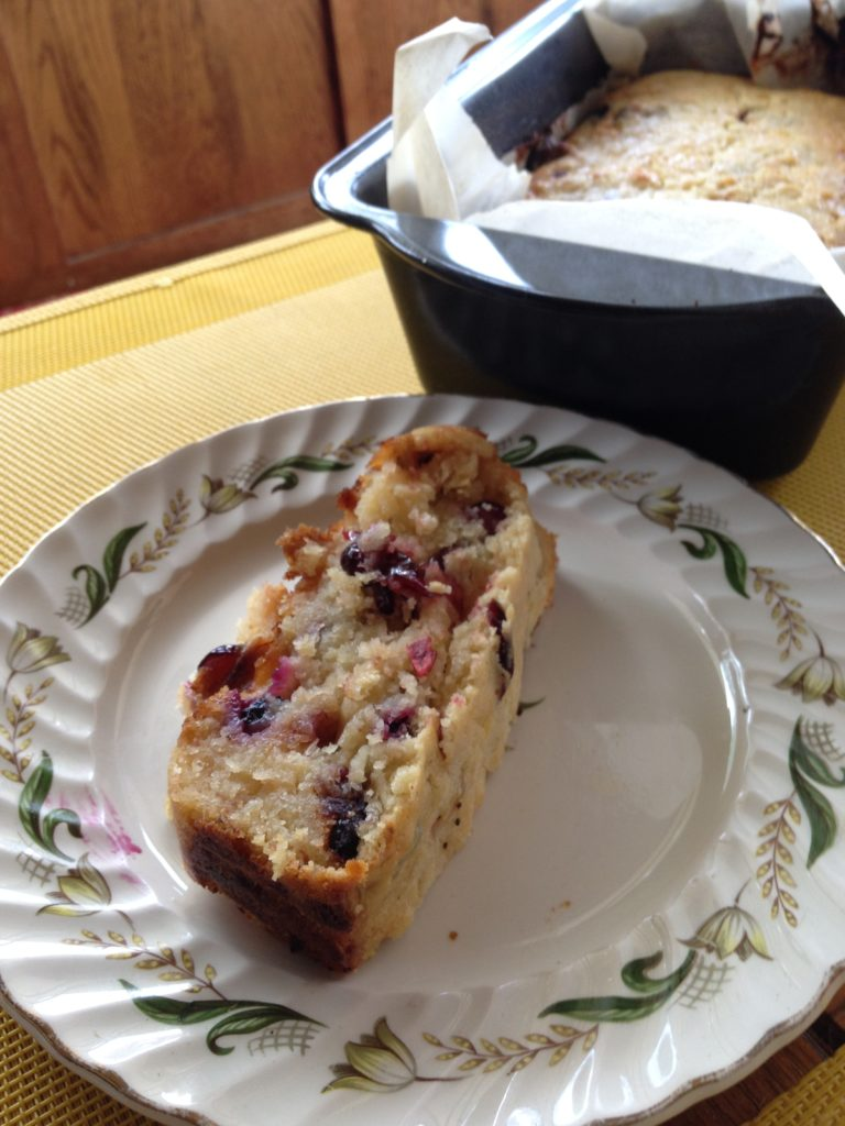 Moist banana bread with fresh blueberries and dried cranberries